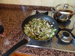 3. Fry off the onions and celery before adding garlic.